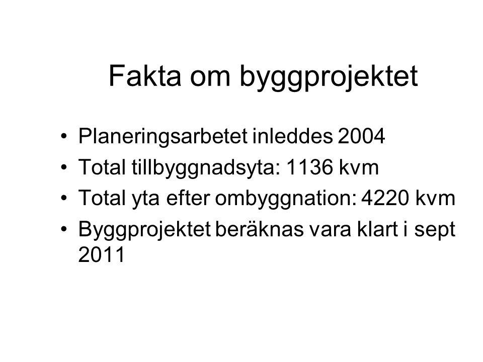 Fakta om byggprojektet Planeringsarbetet inleddes 2004 Total tillbyggnadsyta: 1136 kvm Total yta efter ombyggnation: 4220 kvm Byggprojektet beräknas vara klart i sept 2011
