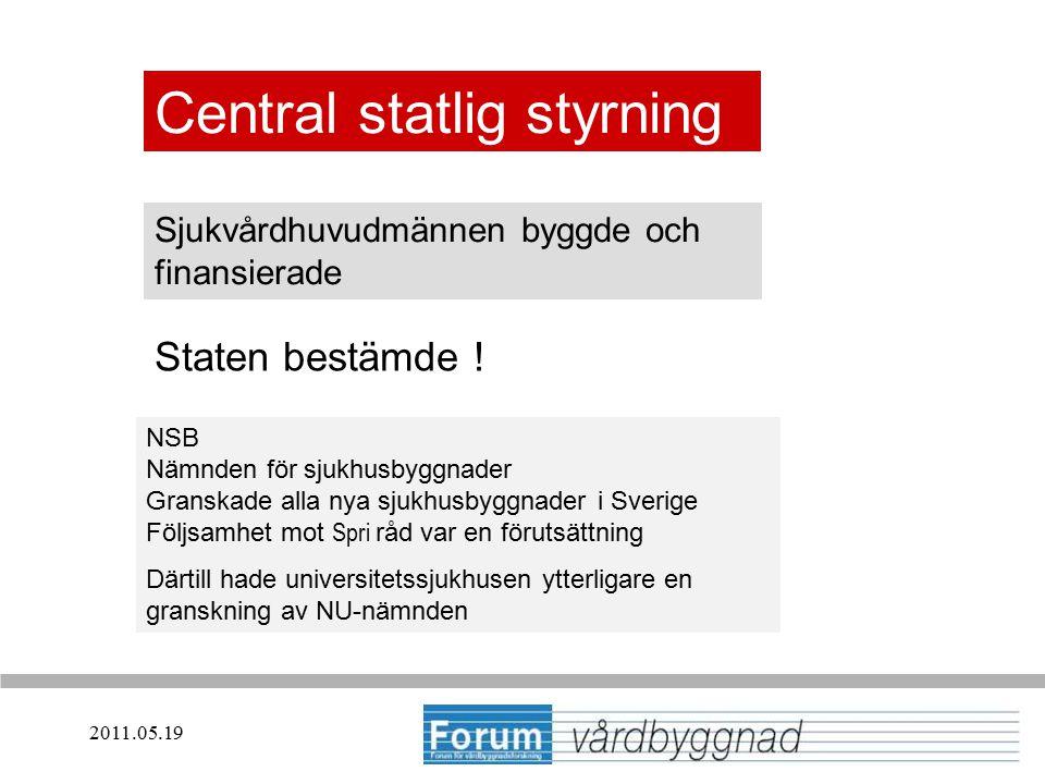 2011.05.19 Central statlig styrning Sjukvårdhuvudmännen byggde och finansierade NSB Nämnden för sjukhusbyggnader Granskade alla nya sjukhusbyggnader i