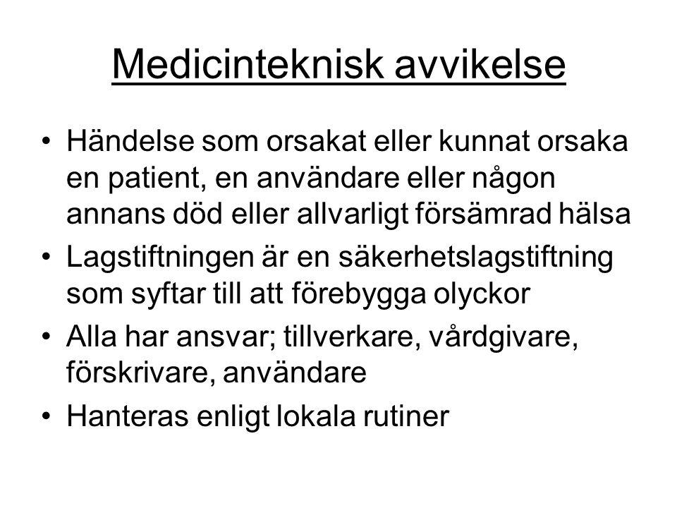 Medicinteknisk avvikelse Händelse som orsakat eller kunnat orsaka en patient, en användare eller någon annans död eller allvarligt försämrad hälsa Lag