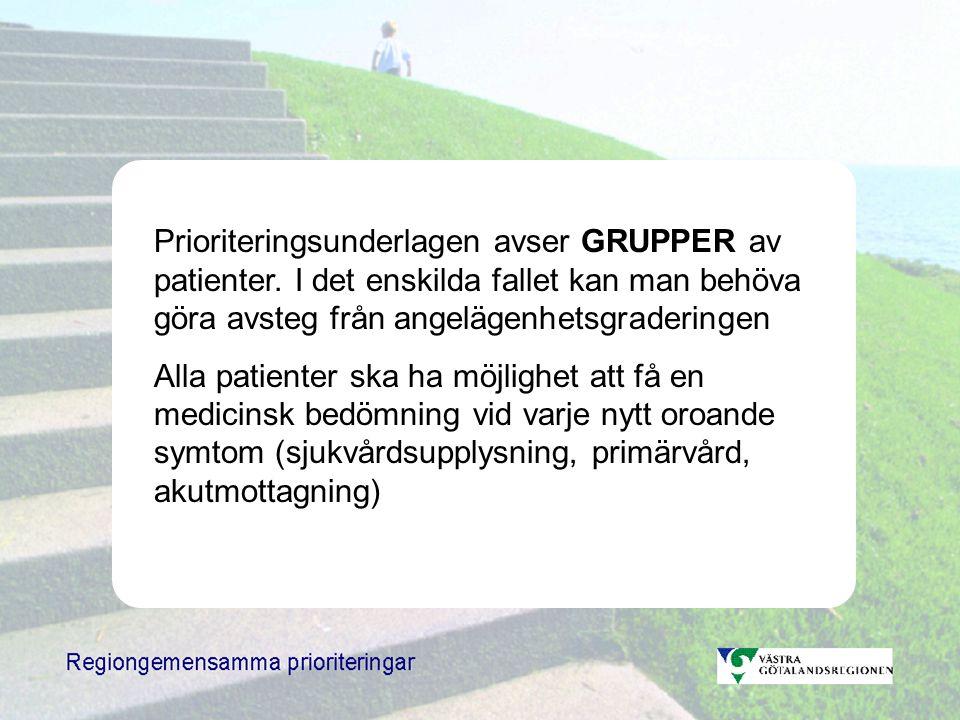 Prioriteringsunderlagen avser GRUPPER av patienter.
