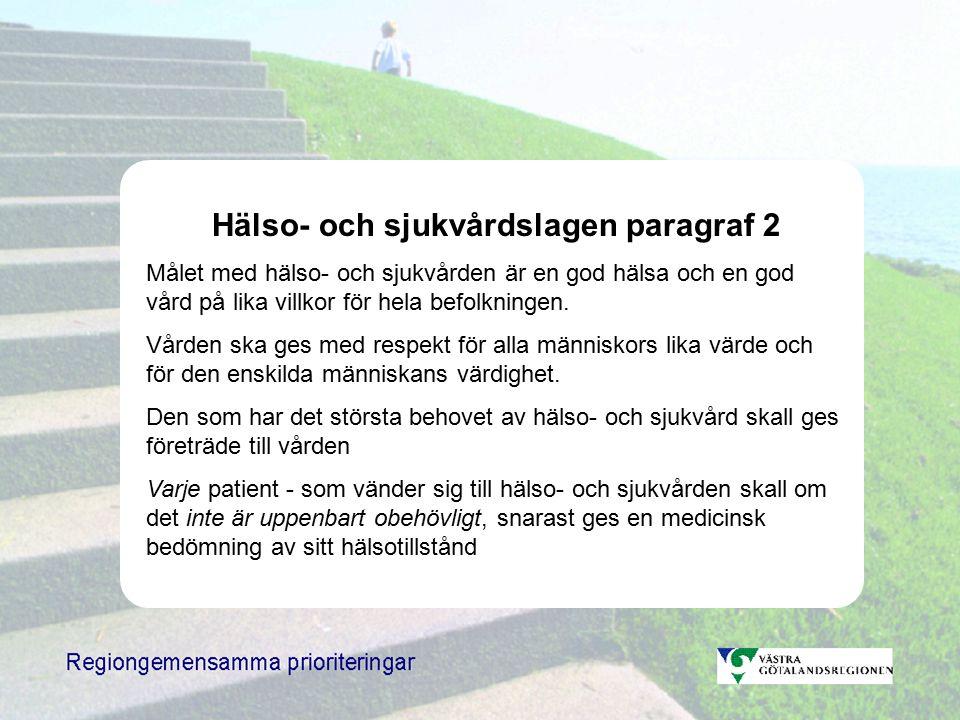 Hälso- och sjukvårdslagen paragraf 2 Målet med hälso- och sjukvården är en god hälsa och en god vård på lika villkor för hela befolkningen.