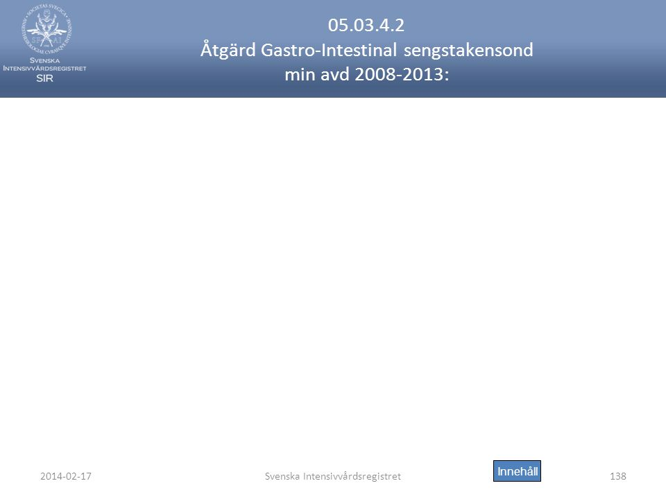 2014-02-17Svenska Intensivvårdsregistret138 05.03.4.2 Åtgärd Gastro-Intestinal sengstakensond min avd 2008-2013: Innehåll