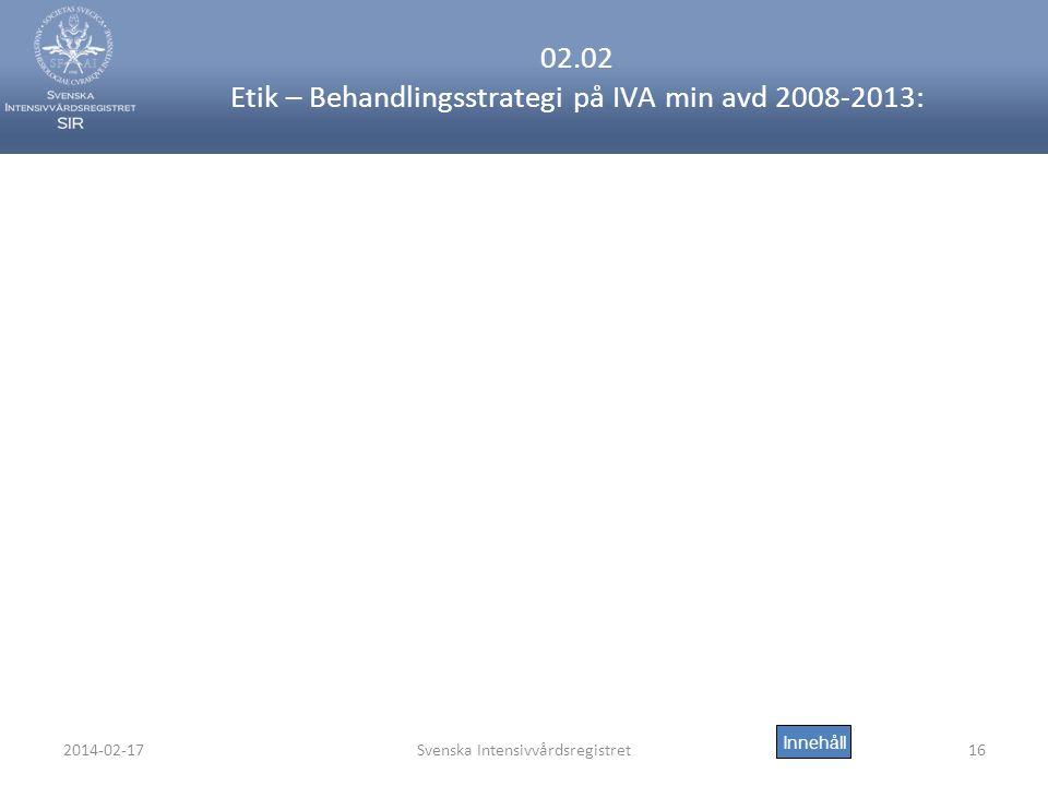 2014-02-17Svenska Intensivvårdsregistret16 02.02 Etik – Behandlingsstrategi på IVA min avd 2008-2013: Innehåll