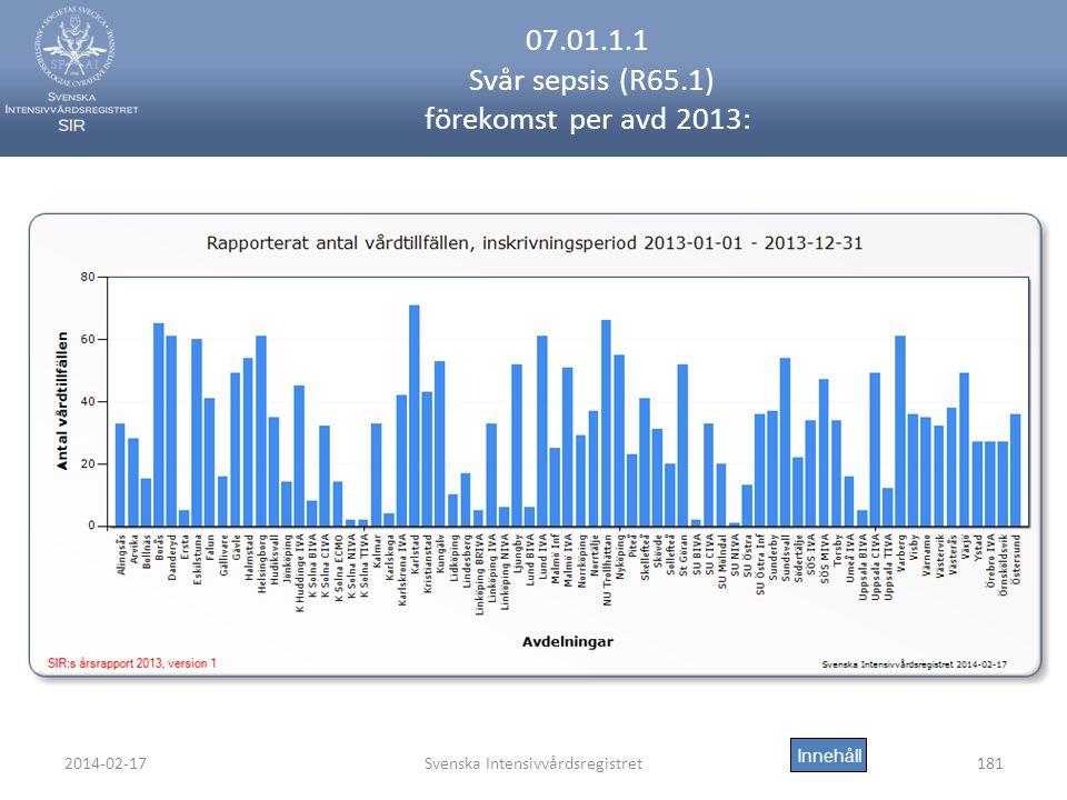 2014-02-17Svenska Intensivvårdsregistret181 07.01.1.1 Svår sepsis (R65.1) förekomst per avd 2013: Innehåll