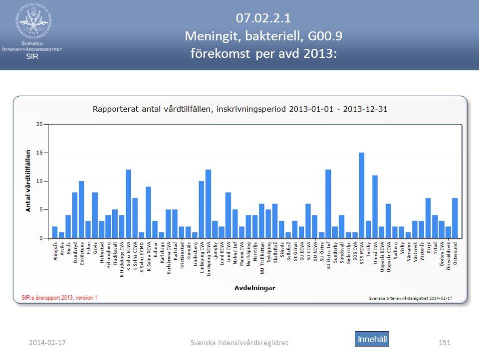 2014-02-17Svenska Intensivvårdsregistret191 07.02.2.1 Meningit, bakteriell, G00.9 förekomst per avd 2013: Innehåll