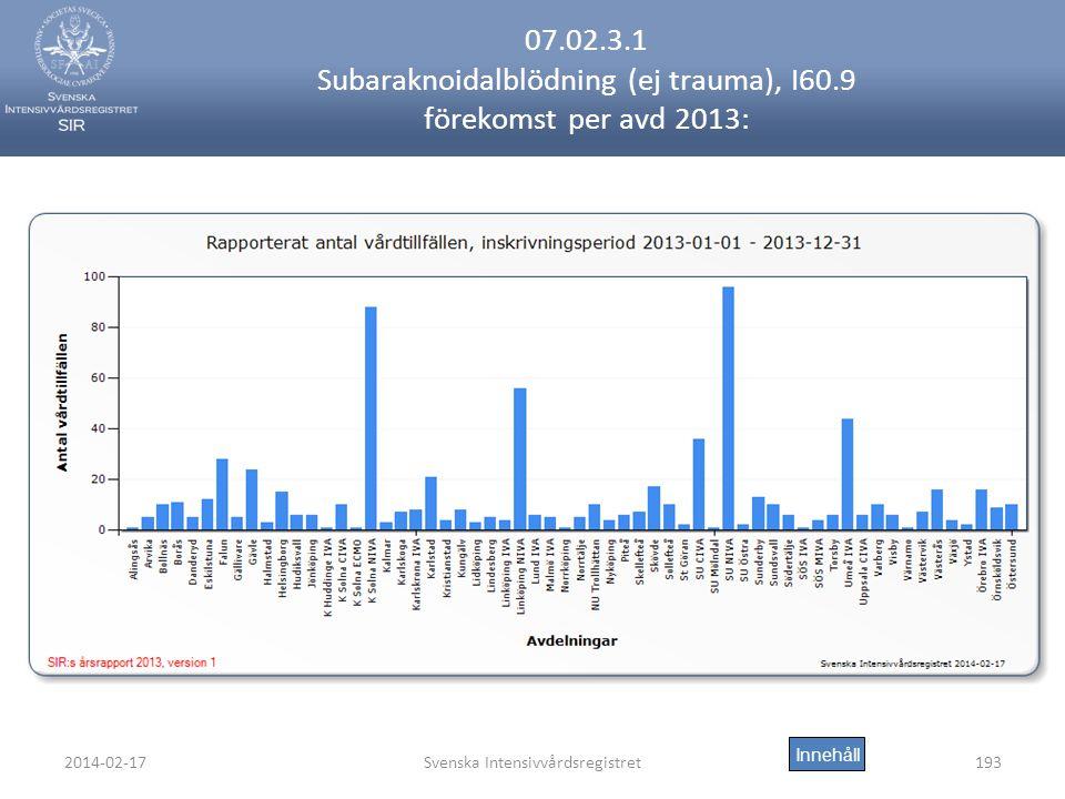 2014-02-17Svenska Intensivvårdsregistret193 07.02.3.1 Subaraknoidalblödning (ej trauma), I60.9 förekomst per avd 2013: Innehåll
