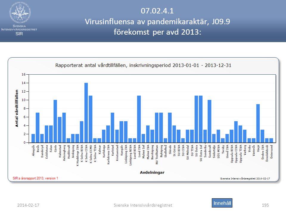 2014-02-17Svenska Intensivvårdsregistret195 07.02.4.1 Virusinfluensa av pandemikaraktär, J09.9 förekomst per avd 2013: Innehåll