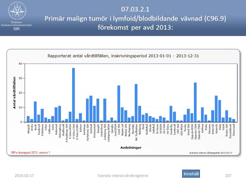 2014-02-17Svenska Intensivvårdsregistret207 07.03.2.1 Primär malign tumör i lymfoid/blodbildande vävnad (C96.9) förekomst per avd 2013: Innehåll