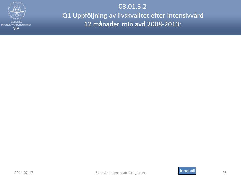 2014-02-17Svenska Intensivvårdsregistret26 03.01.3.2 Q1 Uppföljning av livskvalitet efter intensivvård 12 månader min avd 2008-2013: Innehåll