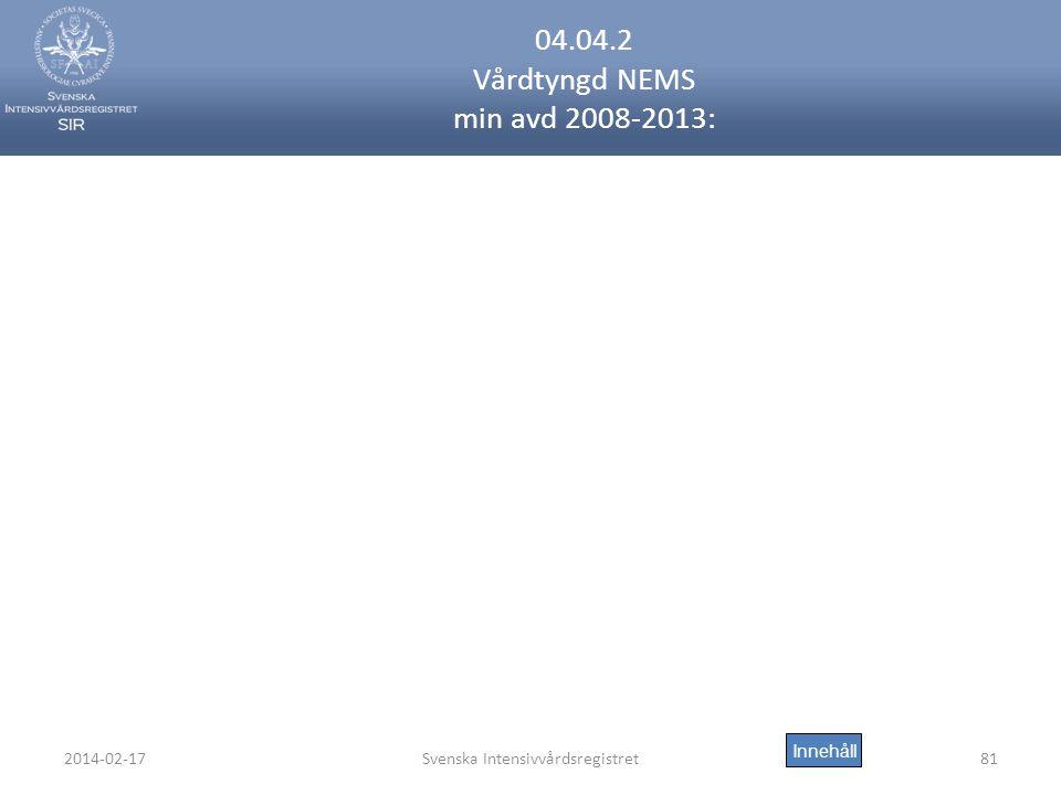 2014-02-17Svenska Intensivvårdsregistret81 04.04.2 Vårdtyngd NEMS min avd 2008-2013: Innehåll