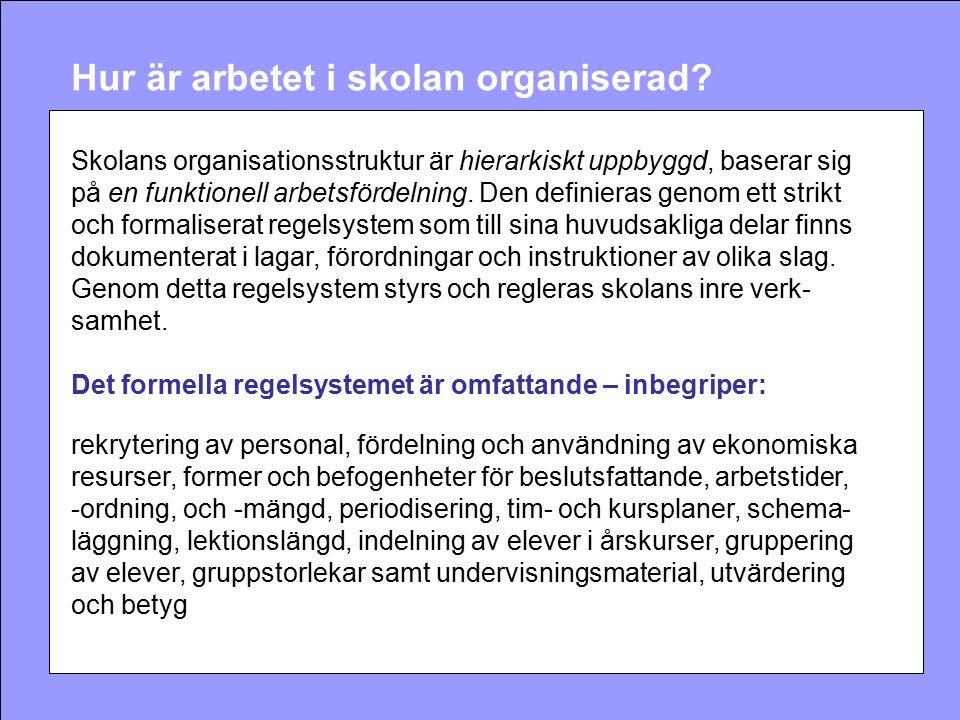 Hur är arbetet i skolan organiserad? Skolans organisationsstruktur är hierarkiskt uppbyggd, baserar sig på en funktionell arbetsfördelning. Den defini