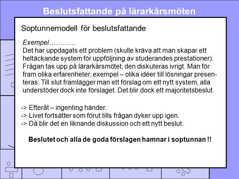 Soptunnemodell för beslutsfattande Exempel………… Det har uppdagats ett problem (skulle kräva att man skapar ett heltäckande system för uppföljning av studerandes prestationer).