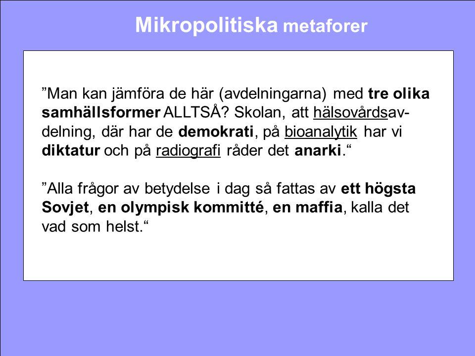 """Mikropolitiska metaforer """"Man kan jämföra de här (avdelningarna) med tre olika samhällsformer ALLTSÅ? Skolan, att hälsovårdsav- delning, där har de de"""