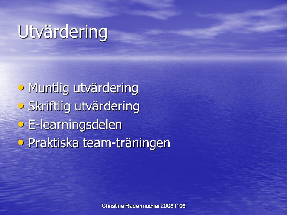 Christine Radermacher 20081106 Utvärdering Muntlig utvärdering Muntlig utvärdering Skriftlig utvärdering Skriftlig utvärdering E-learningsdelen E-lear