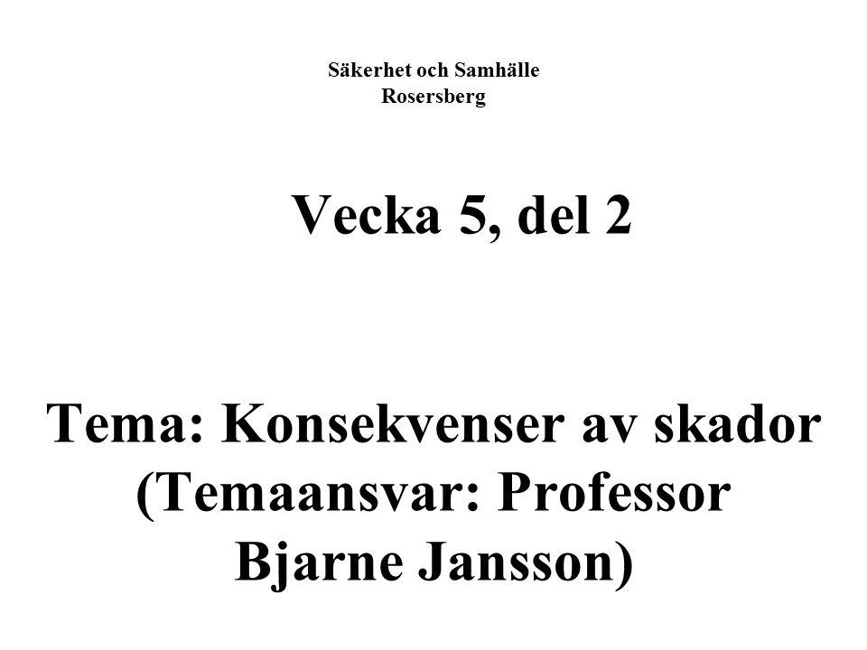 Säkerhet och Samhälle Rosersberg Vecka 5, del 2 Tema: Konsekvenser av skador (Temaansvar: Professor Bjarne Jansson)