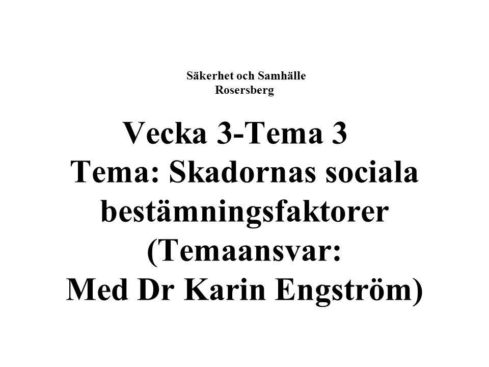 Säkerhet och Samhälle Rosersberg Vecka 3-Tema 3 Tema: Skadornas sociala bestämningsfaktorer (Temaansvar: Med Dr Karin Engström)