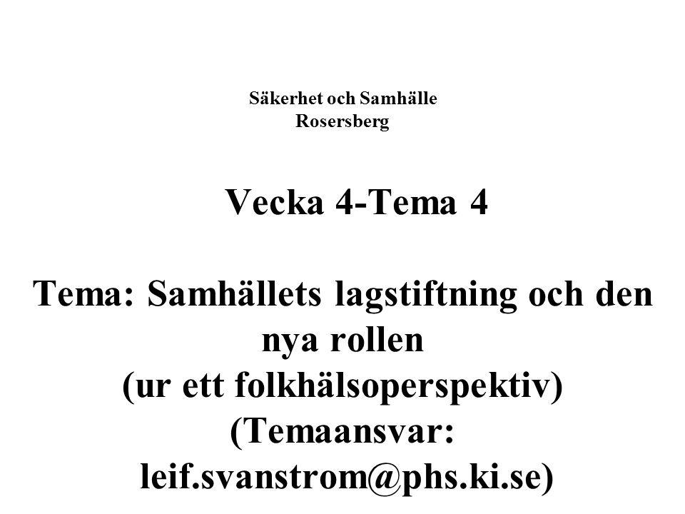Säkerhet och Samhälle Rosersberg Vecka 4-Tema 4 Tema: Samhällets lagstiftning och den nya rollen (ur ett folkhälsoperspektiv) (Temaansvar: leif.svanstrom@phs.ki.se)