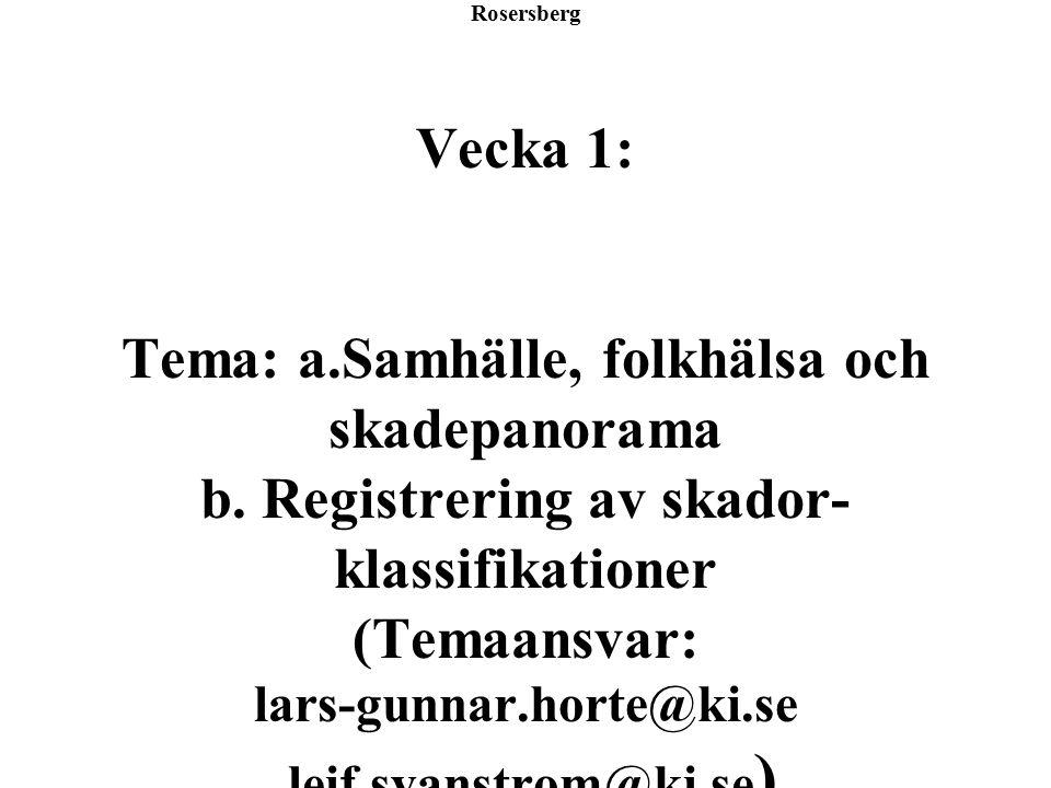 Säkerhet och Samhälle Rosersberg Vecka 1: Tema: a.Samhälle, folkhälsa och skadepanorama b.