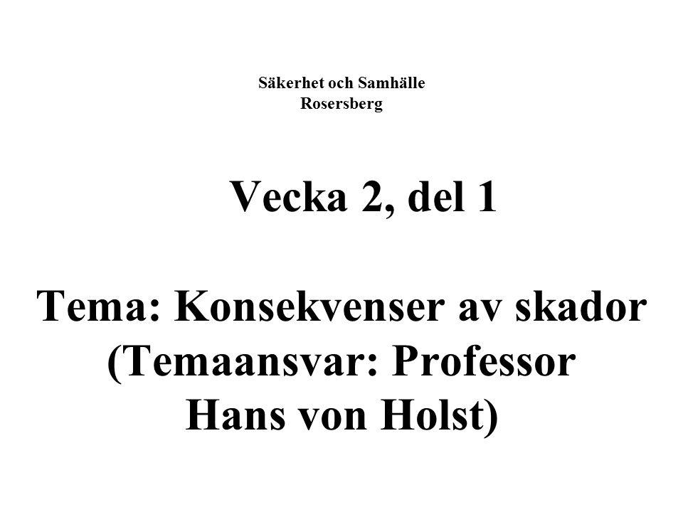 Säkerhet och Samhälle Rosersberg Vecka 2, del 1 Tema: Konsekvenser av skador (Temaansvar: Professor Hans von Holst)