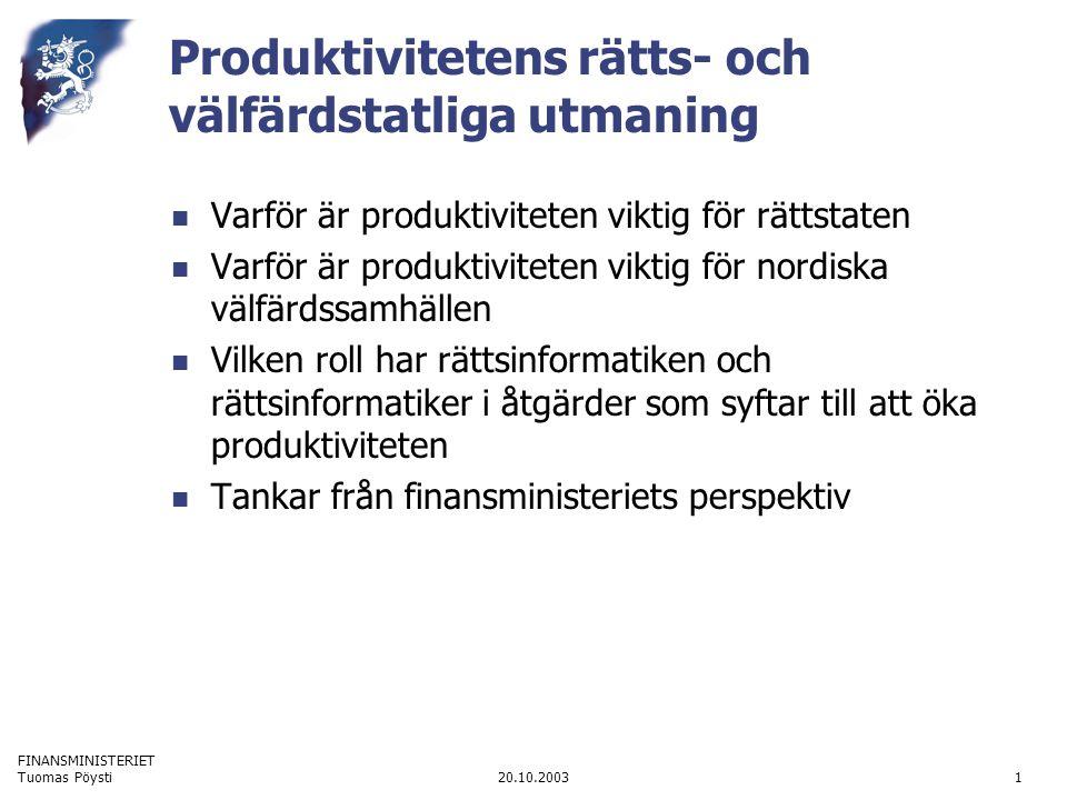 FINANSMINISTERIET 20.10.2003Tuomas Pöysti1 Produktivitetens rätts- och välfärdstatliga utmaning Varför är produktiviteten viktig för rättstaten Varför