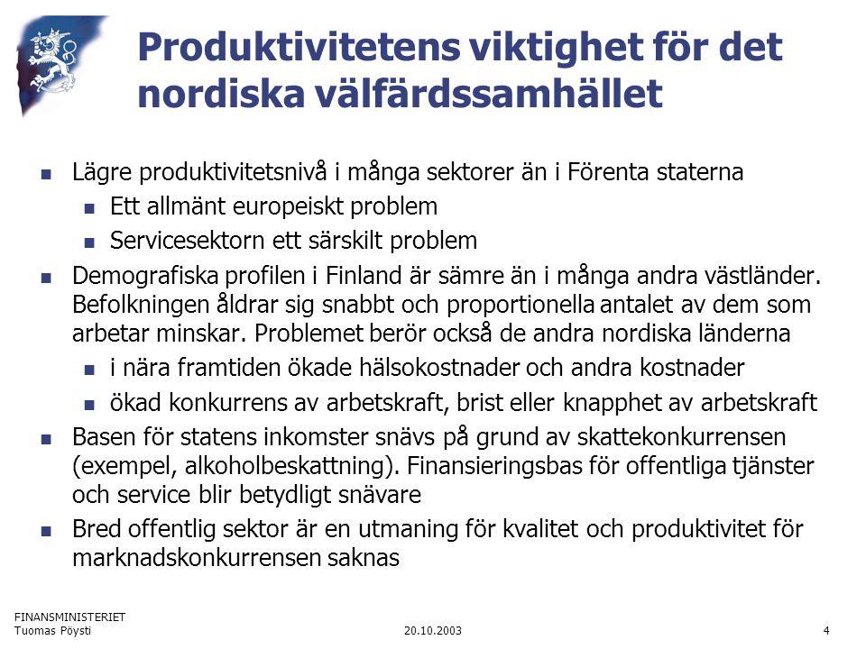 FINANSMINISTERIET 20.10.2003Tuomas Pöysti4 Produktivitetens viktighet för det nordiska välfärdssamhället Lägre produktivitetsnivå i många sektorer än