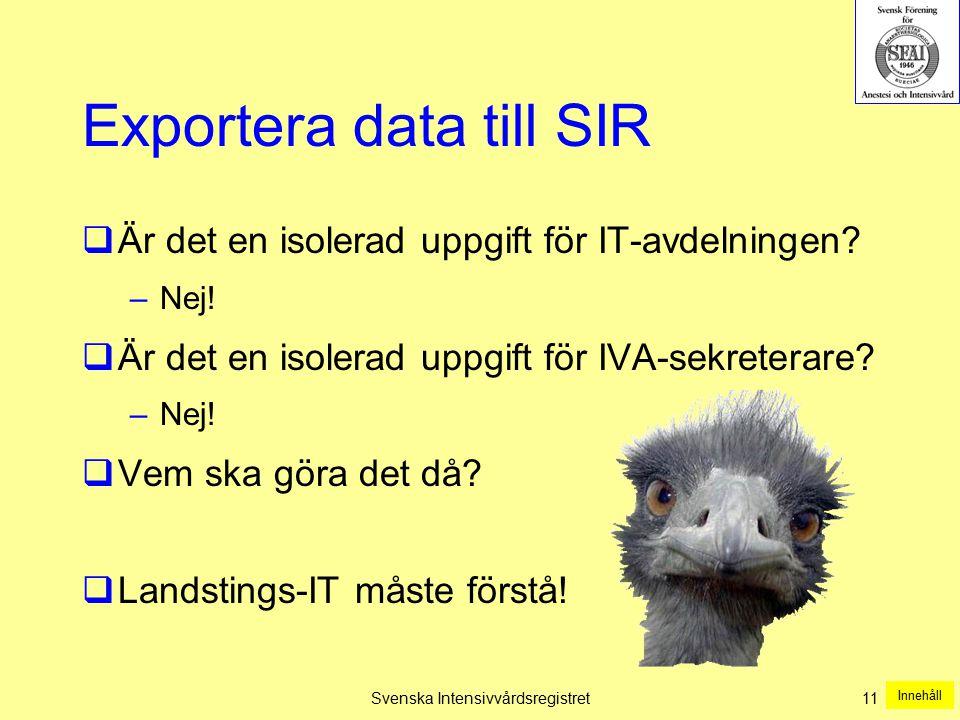 Svenska Intensivvårdsregistret11 Exportera data till SIR  Är det en isolerad uppgift för IT-avdelningen? –Nej!  Är det en isolerad uppgift för IVA-s
