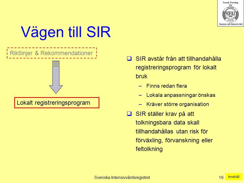 Svenska Intensivvårdsregistret 19 Vägen till SIR  SIR avstår från att tillhandahålla registreringsprogram för lokalt bruk –Finns redan flera –Lokala