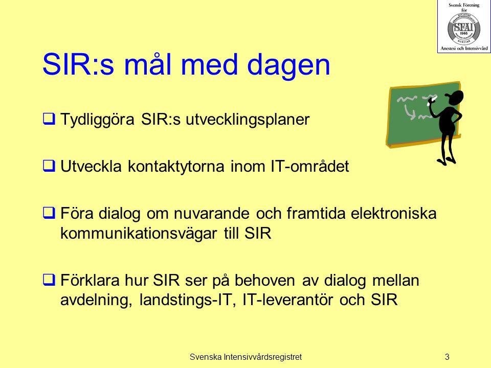 SIR:s riktlinjeutveckling  Riktlinjerna är det medicinska och praktiska rättesnöret för arbetet på IVA  Skrivna för Dr och ssk på avdelningarna  Skall kunna läsas för att indirekt ge dataset  SIRXML-specifikationen är gjord för IT-folk och skall ge instruktionen för hur XML-filen skall se ut  Riktlinjer och SIRXML-specifikationen skall harmoniera  Kan det göras bättre.