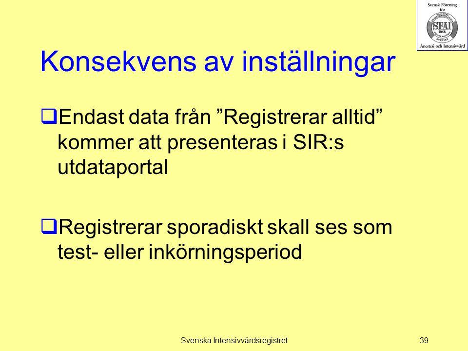 """Konsekvens av inställningar  Endast data från """"Registrerar alltid"""" kommer att presenteras i SIR:s utdataportal  Registrerar sporadiskt skall ses som"""