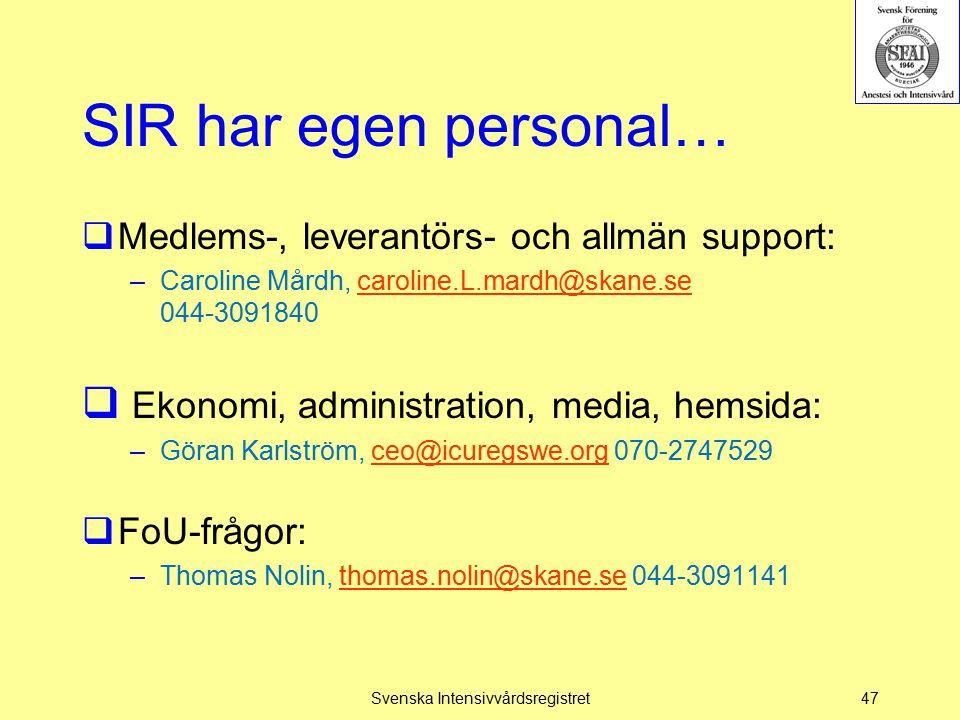 SIR har egen personal…  Medlems-, leverantörs- och allmän support: –Caroline Mårdh, caroline.L.mardh@skane.se 044-3091840caroline.L.mardh@skane.se 