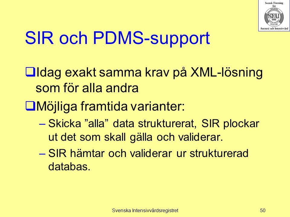 """SIR och PDMS-support  Idag exakt samma krav på XML-lösning som för alla andra  Möjliga framtida varianter: –Skicka """"alla"""" data strukturerat, SIR plo"""