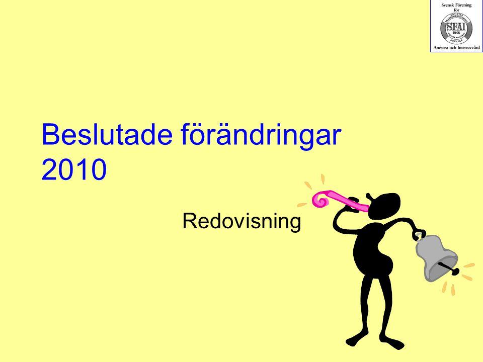 Beslutade förändringar 2010 Redovisning