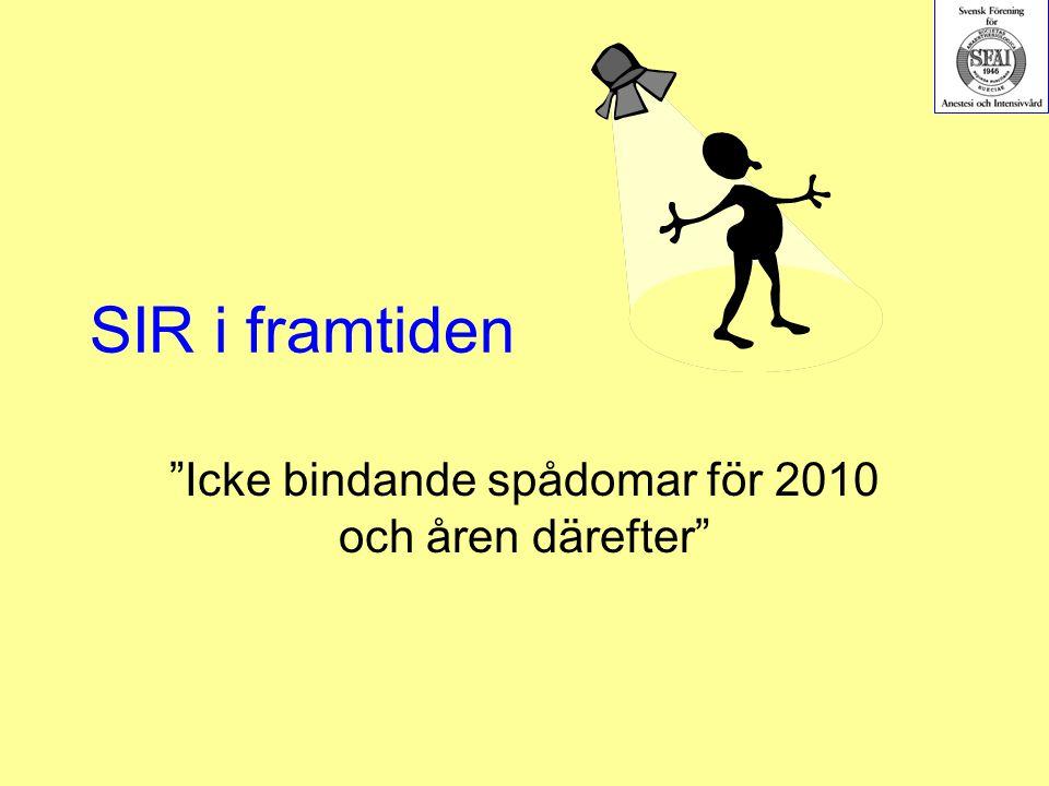 """SIR i framtiden """"Icke bindande spådomar för 2010 och åren därefter"""""""