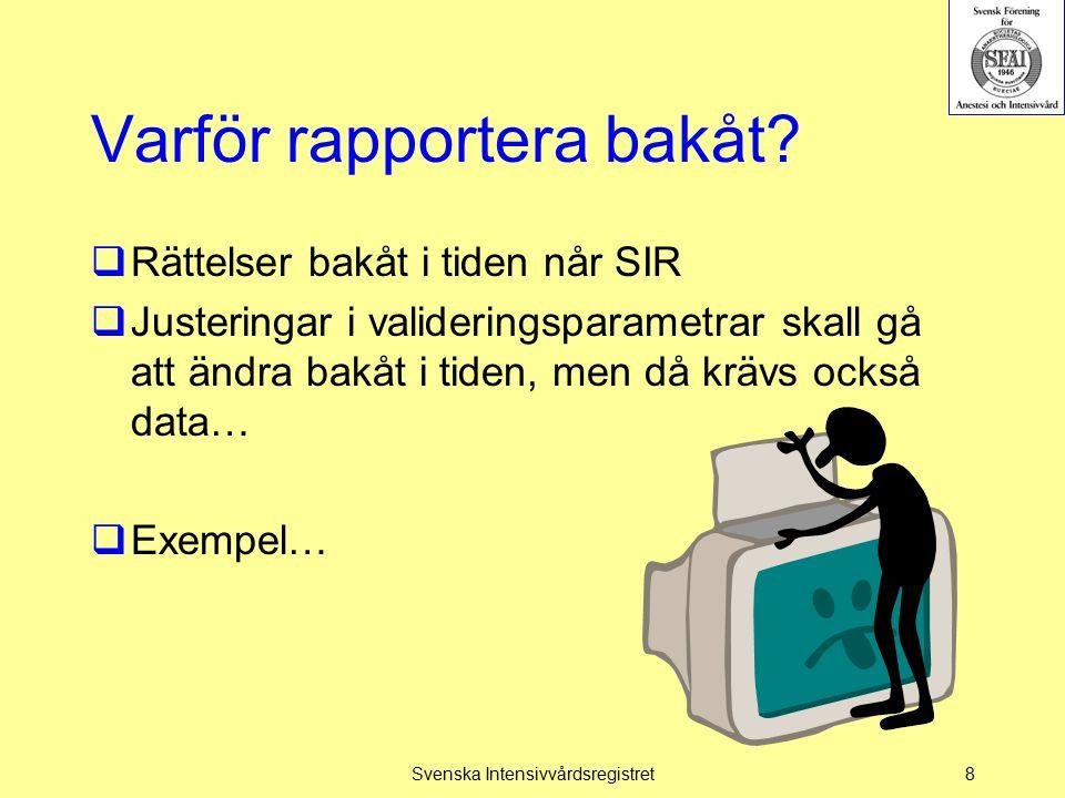 Konsekvens av inställningar  Endast data från Registrerar alltid kommer att presenteras i SIR:s utdataportal  Registrerar sporadiskt skall ses som test- eller inkörningsperiod Svenska Intensivvårdsregistret39