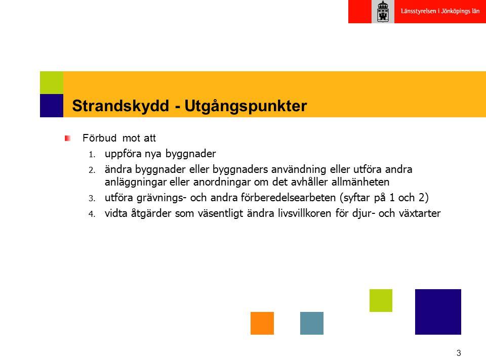 3 Strandskydd - Utgångspunkter Förbud mot att 1. uppföra nya byggnader 2. ändra byggnader eller byggnaders användning eller utföra andra anläggningar