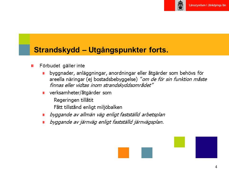 4 Strandskydd – Utgångspunkter forts. Förbudet gäller inte byggnader, anläggningar, anordningar eller åtgärder som behövs för areella näringar (ej bos