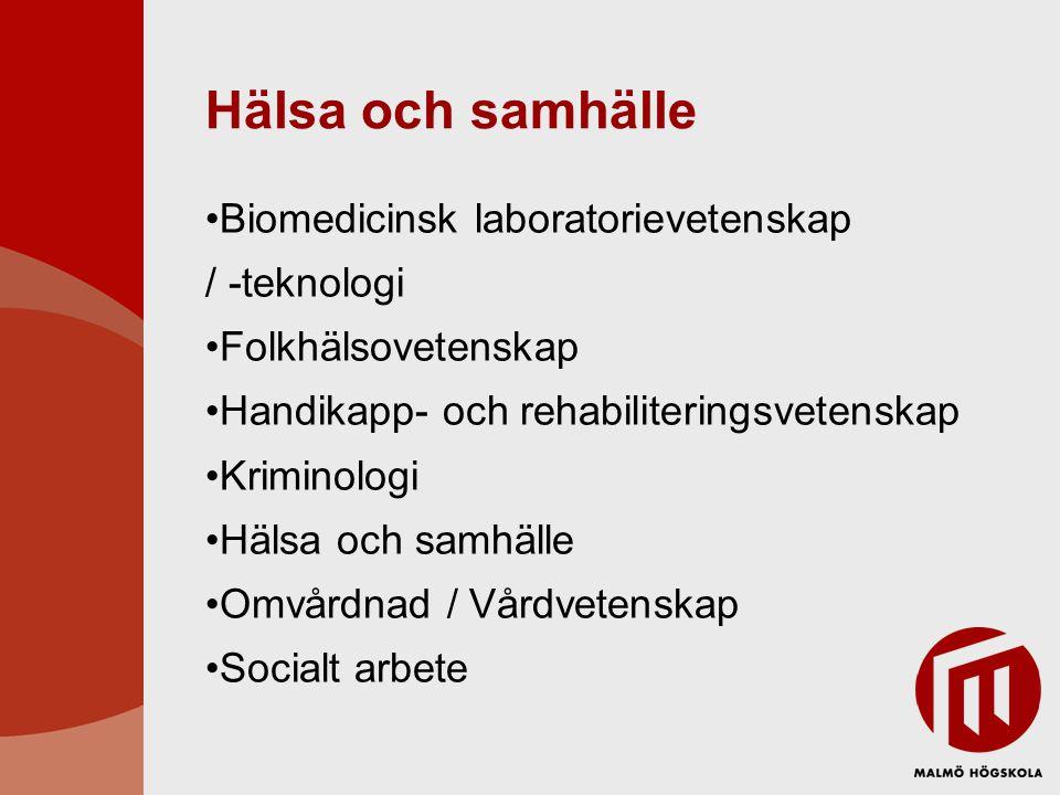 Hälsa och samhälle Biomedicinsk laboratorievetenskap / -teknologi Folkhälsovetenskap Handikapp- och rehabiliteringsvetenskap Kriminologi Hälsa och samhälle Omvårdnad / Vårdvetenskap Socialt arbete