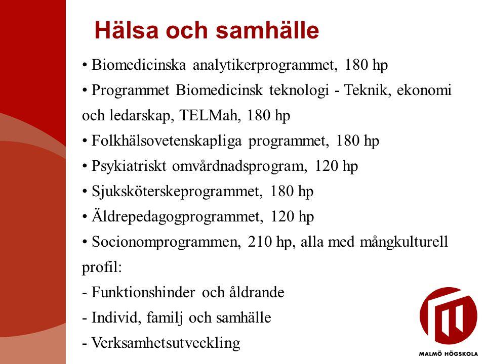 Hälsa och samhälle Biomedicinska analytikerprogrammet, 180 hp Programmet Biomedicinsk teknologi - Teknik, ekonomi och ledarskap, TELMah, 180 hp Folkhälsovetenskapliga programmet, 180 hp Psykiatriskt omvårdnadsprogram, 120 hp Sjuksköterskeprogrammet, 180 hp Äldrepedagogprogrammet, 120 hp Socionomprogrammen, 210 hp, alla med mångkulturell profil: - Funktionshinder och åldrande - Individ, familj och samhälle - Verksamhetsutveckling
