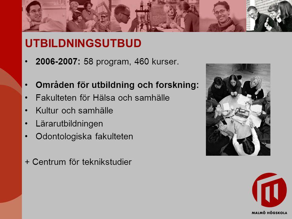 UTBILDNINGSUTBUD 2006-2007: 58 program, 460 kurser.