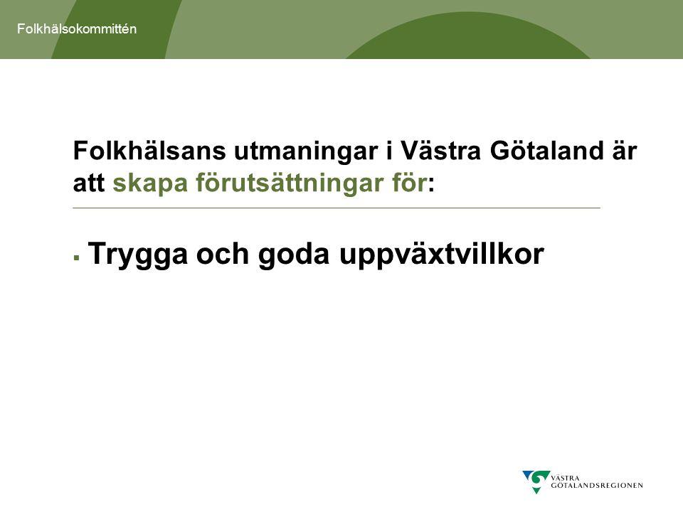 Folkhälsokommittén  Trygga och goda uppväxtvillkor Folkhälsans utmaningar i Västra Götaland är att skapa förutsättningar för: