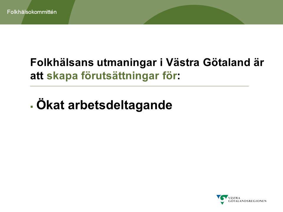 Folkhälsokommittén  Ökat arbetsdeltagande Folkhälsans utmaningar i Västra Götaland är att skapa förutsättningar för: