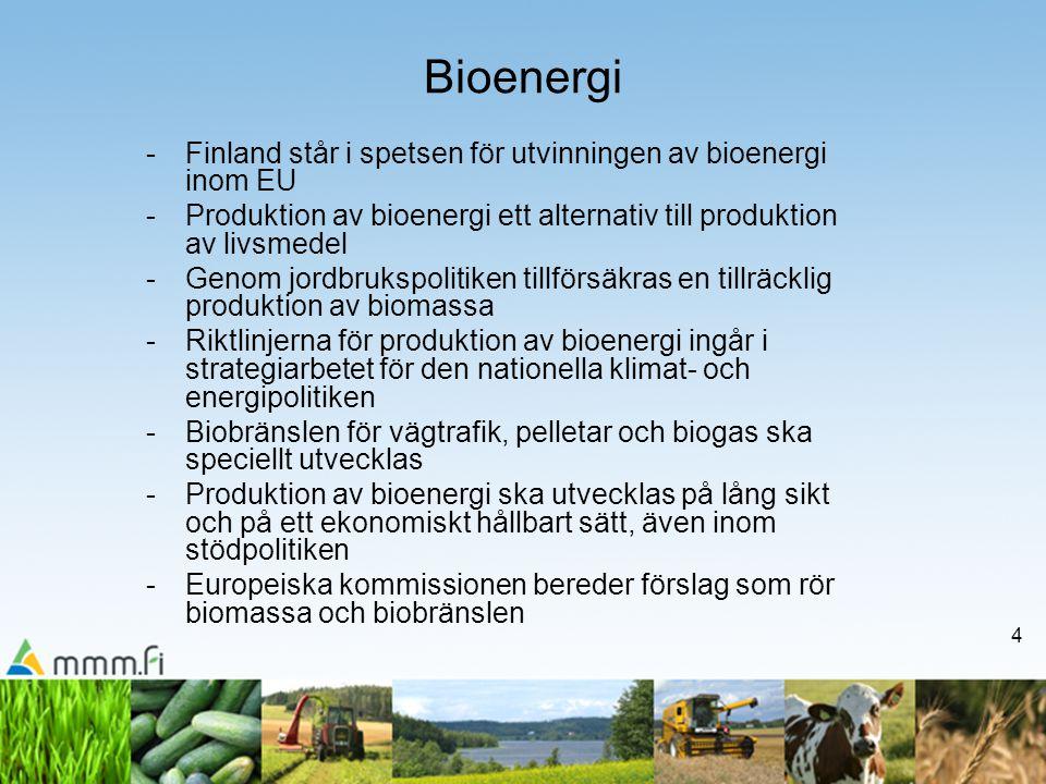 4 Bioenergi -Finland står i spetsen för utvinningen av bioenergi inom EU -Produktion av bioenergi ett alternativ till produktion av livsmedel -Genom jordbrukspolitiken tillförsäkras en tillräcklig produktion av biomassa -Riktlinjerna för produktion av bioenergi ingår i strategiarbetet för den nationella klimat- och energipolitiken -Biobränslen för vägtrafik, pelletar och biogas ska speciellt utvecklas -Produktion av bioenergi ska utvecklas på lång sikt och på ett ekonomiskt hållbart sätt, även inom stödpolitiken -Europeiska kommissionen bereder förslag som rör biomassa och biobränslen