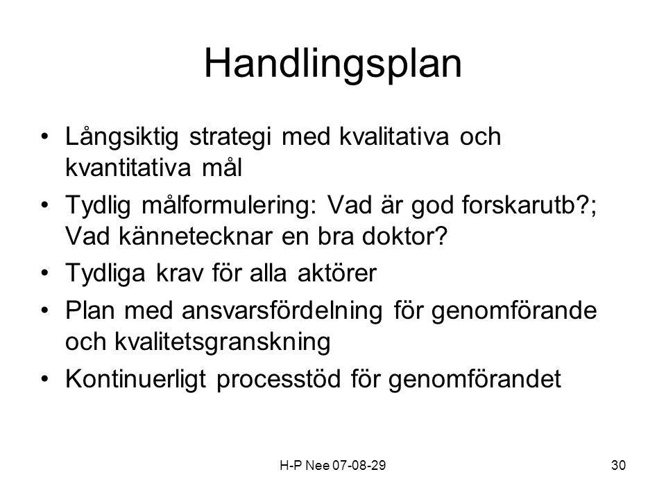 H-P Nee 07-08-2930 Handlingsplan Långsiktig strategi med kvalitativa och kvantitativa mål Tydlig målformulering: Vad är god forskarutb ; Vad kännetecknar en bra doktor.