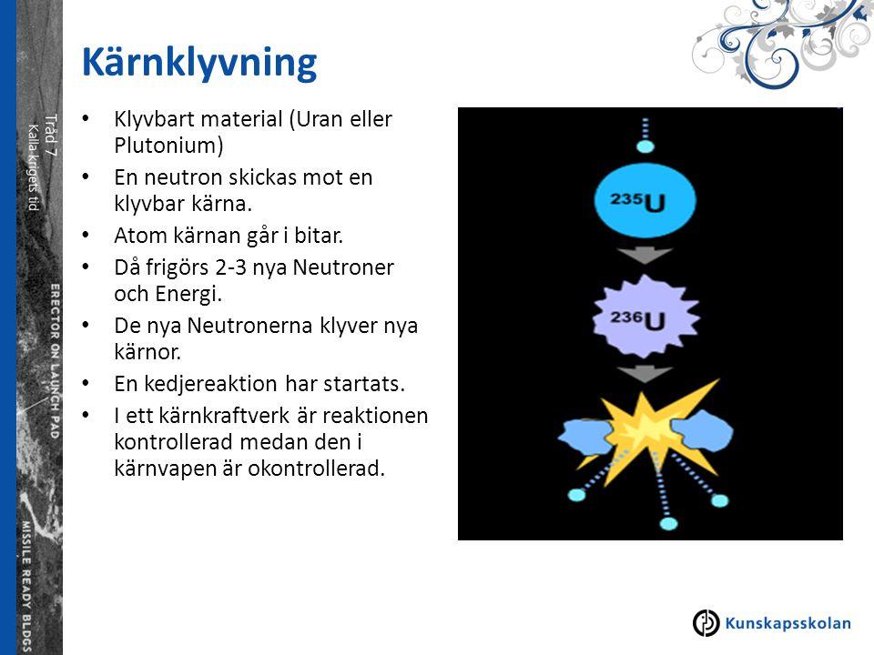 Kärnklyvning Klyvbart material (Uran eller Plutonium) En neutron skickas mot en klyvbar kärna. Atom kärnan går i bitar. Då frigörs 2-3 nya Neutroner o