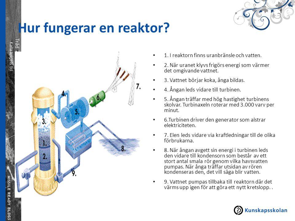 Hur fungerar en reaktor? 1. I reaktorn finns uranbränsle och vatten. 2. När uranet klyvs frigörs energi som värmer det omgivande vattnet. 3. Vattnet b