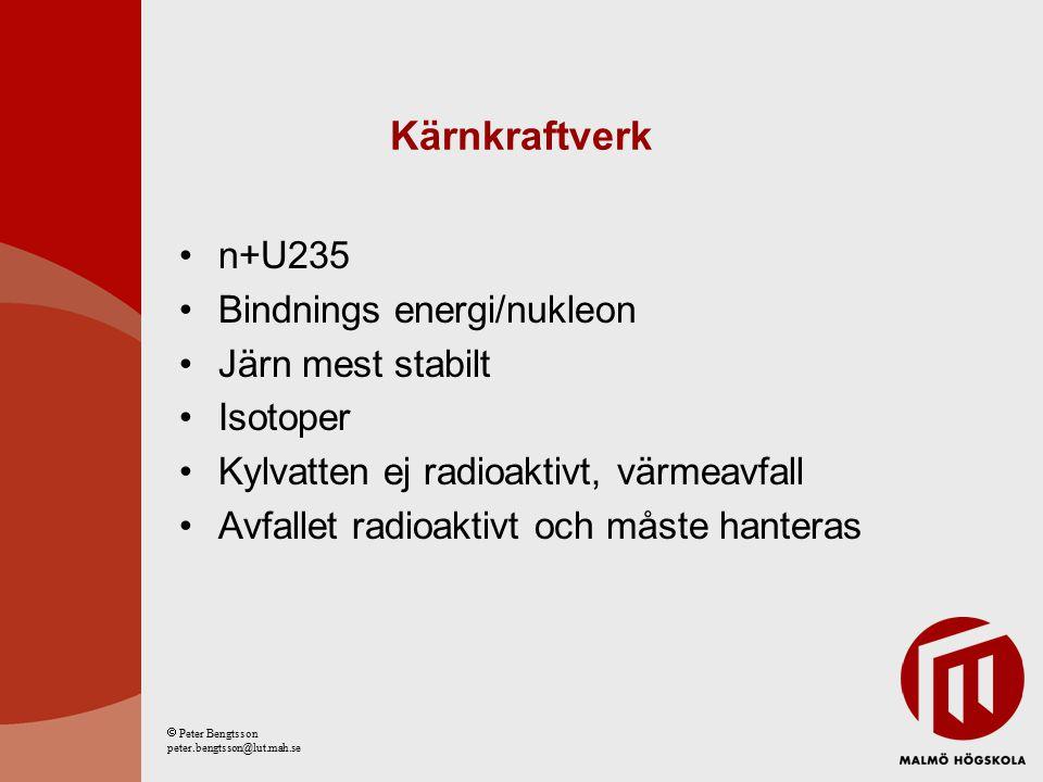 Kärnkraftverk n+U235 Bindnings energi/nukleon Järn mest stabilt Isotoper Kylvatten ej radioaktivt, värmeavfall Avfallet radioaktivt och måste hanteras  Peter Bengtsson peter.bengtsson@lut.mah.se