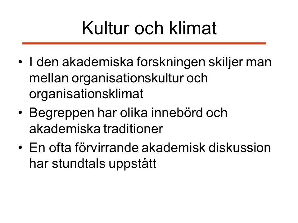 Kultur och klimat I den akademiska forskningen skiljer man mellan organisationskultur och organisationsklimat Begreppen har olika innebörd och akademi