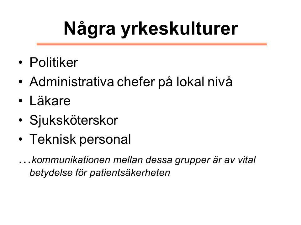 Några yrkeskulturer Politiker Administrativa chefer på lokal nivå Läkare Sjuksköterskor Teknisk personal … kommunikationen mellan dessa grupper är av