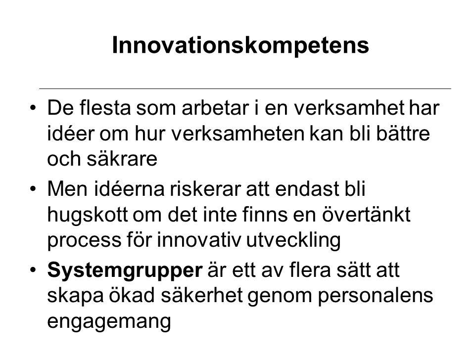 Innovationskompetens De flesta som arbetar i en verksamhet har idéer om hur verksamheten kan bli bättre och säkrare Men idéerna riskerar att endast bli hugskott om det inte finns en övertänkt process för innovativ utveckling Systemgrupper är ett av flera sätt att skapa ökad säkerhet genom personalens engagemang