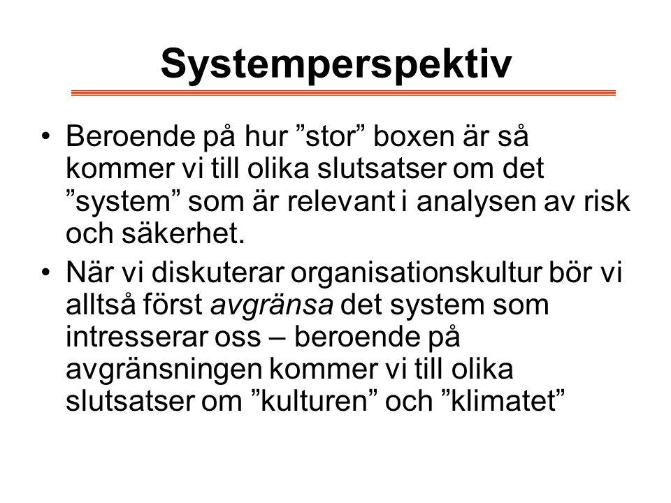 Systemperspektiv Beroende på hur stor boxen är så kommer vi till olika slutsatser om det system som är relevant i analysen av risk och säkerhet.
